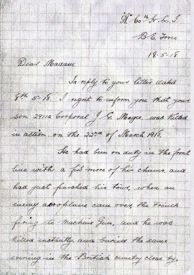 Letter about John Gilmour Magee - page 1