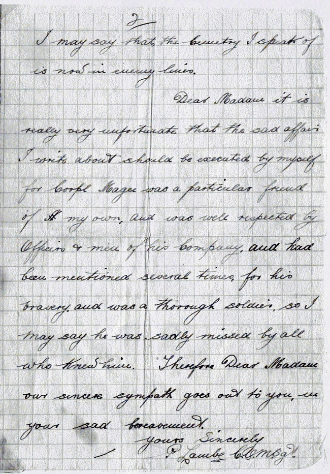 Letter about John Gilmour Magee - page 2