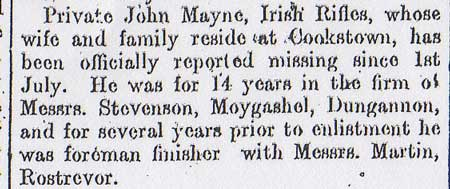 Tyrone Courier dated 24 August 1916: