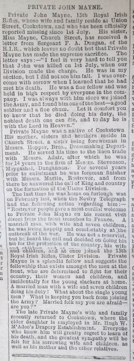 Mid Ulster Mail dated Saturday 19th August 1916:
